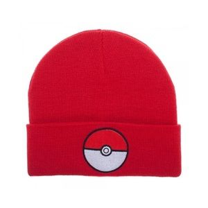 Boy's Red Pokemon Pokeball Cuff Beanie Winter Hat